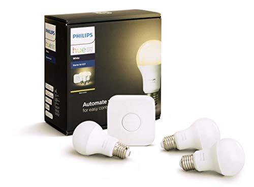 Pack 3 bombillas + interruptor Philips - Hue Kit de iniciación blanco con 3 x E27 9 W, funciona con Alexa, cristal, 9 W