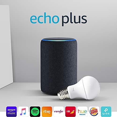 Echo Plus (2.ª generación) antracita + Philips Hue White Bombilla LED E27