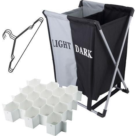 Cesto para ropa sucia con modular para cajones y pack de perchas metálicas