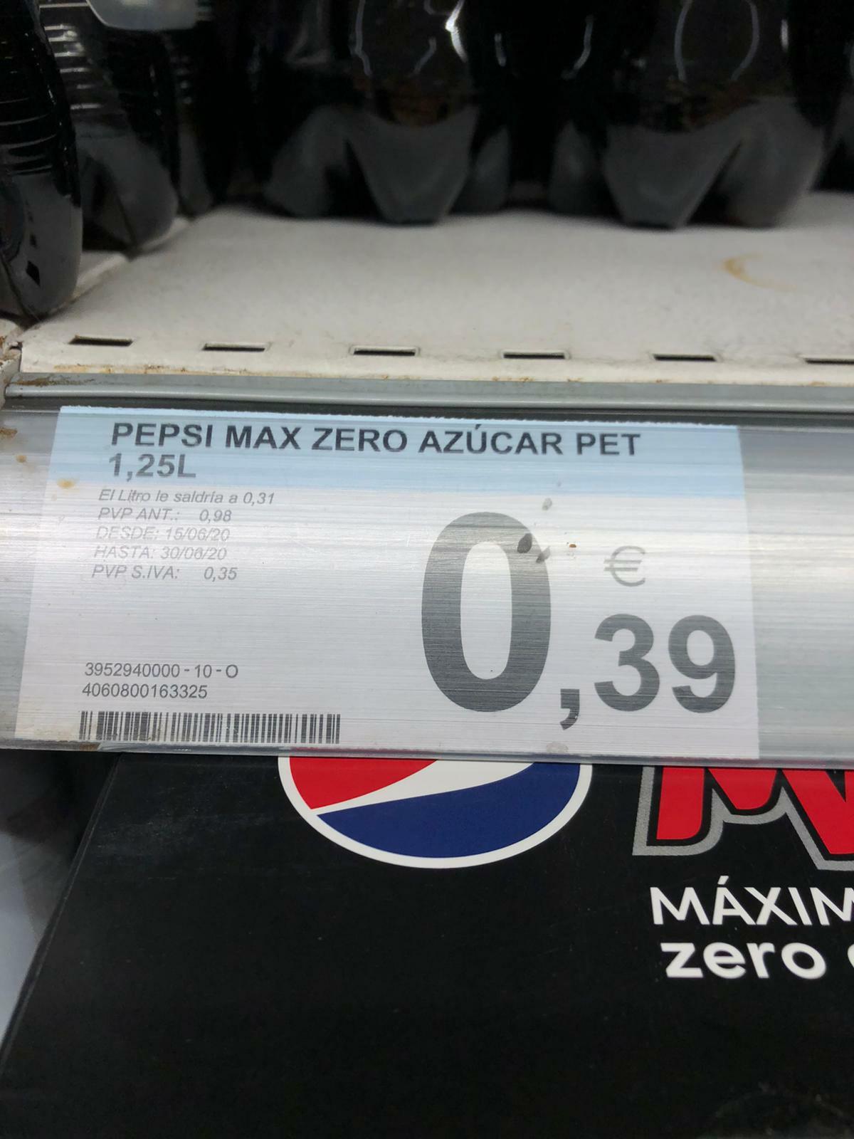 Pepsi Max 1'25 L muy económica en carrefour de Hortaleza (Madrid)