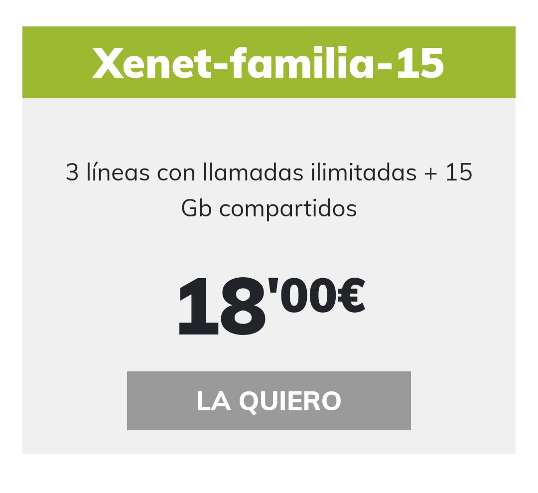 Tarifa familia 3 líneas 15gb a compartir y llamadas ilimitadas