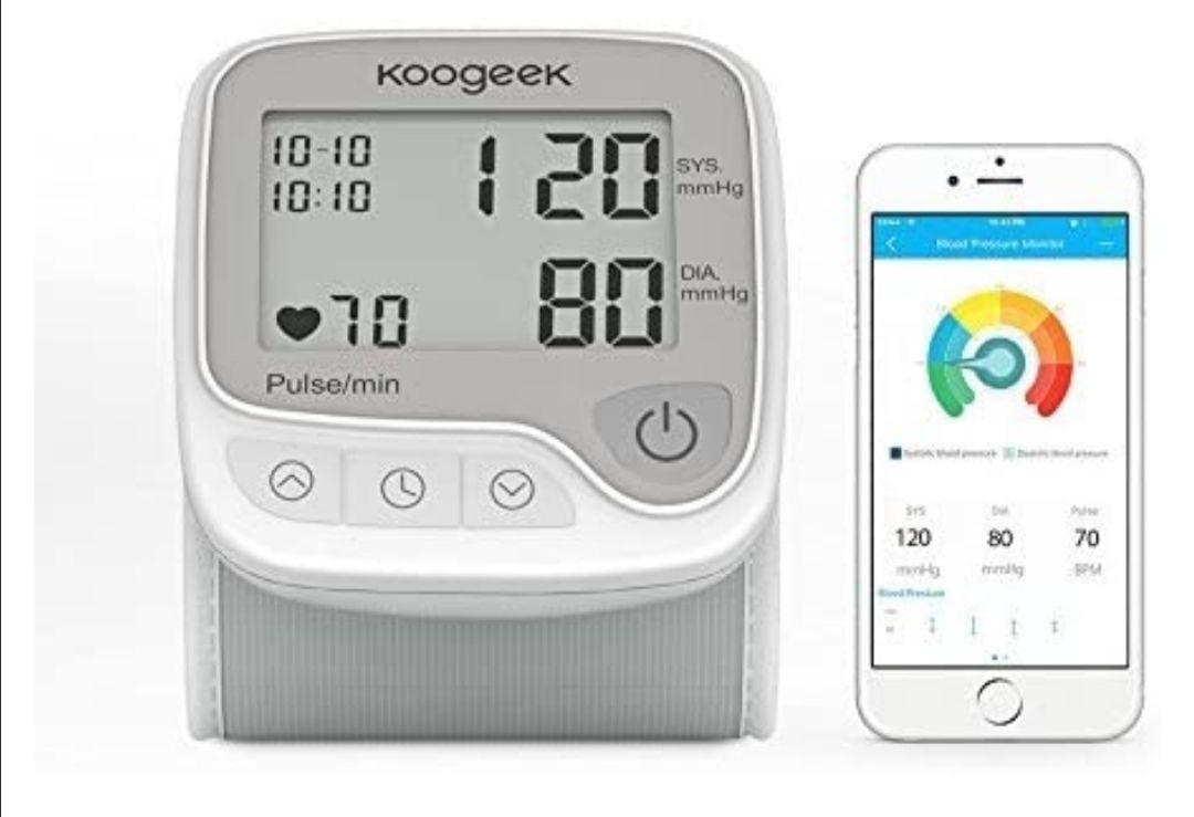 Koogeek Tensiómetro de Muñeca Digital, Monitor de Presión Arterial y Pulso de Frecuencia