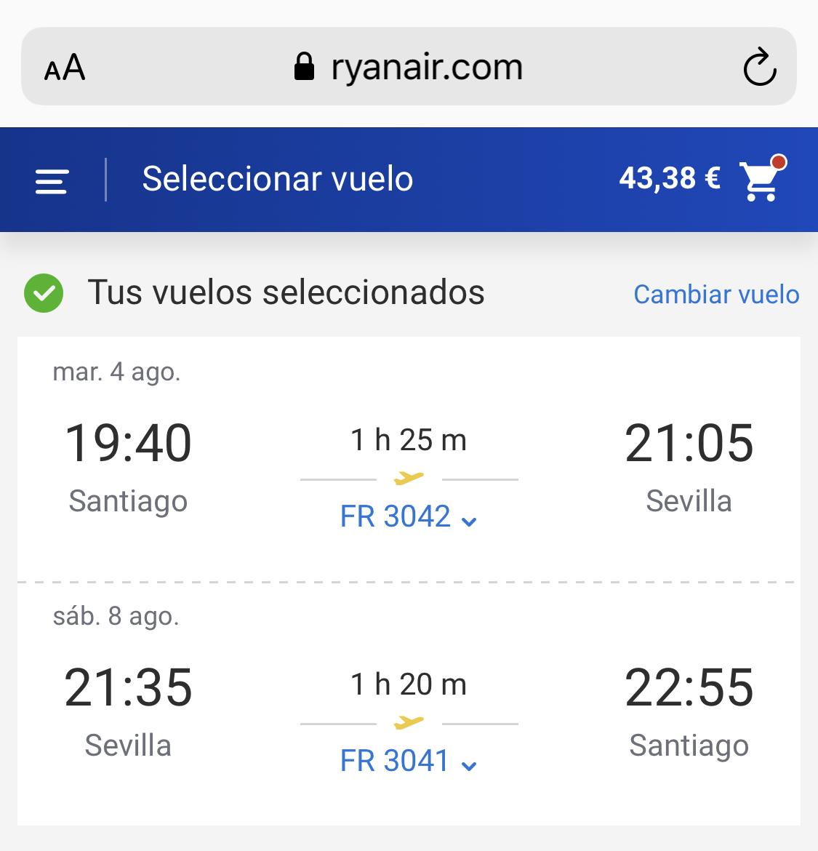 Santiago - Sevilla (I/V) a 43€