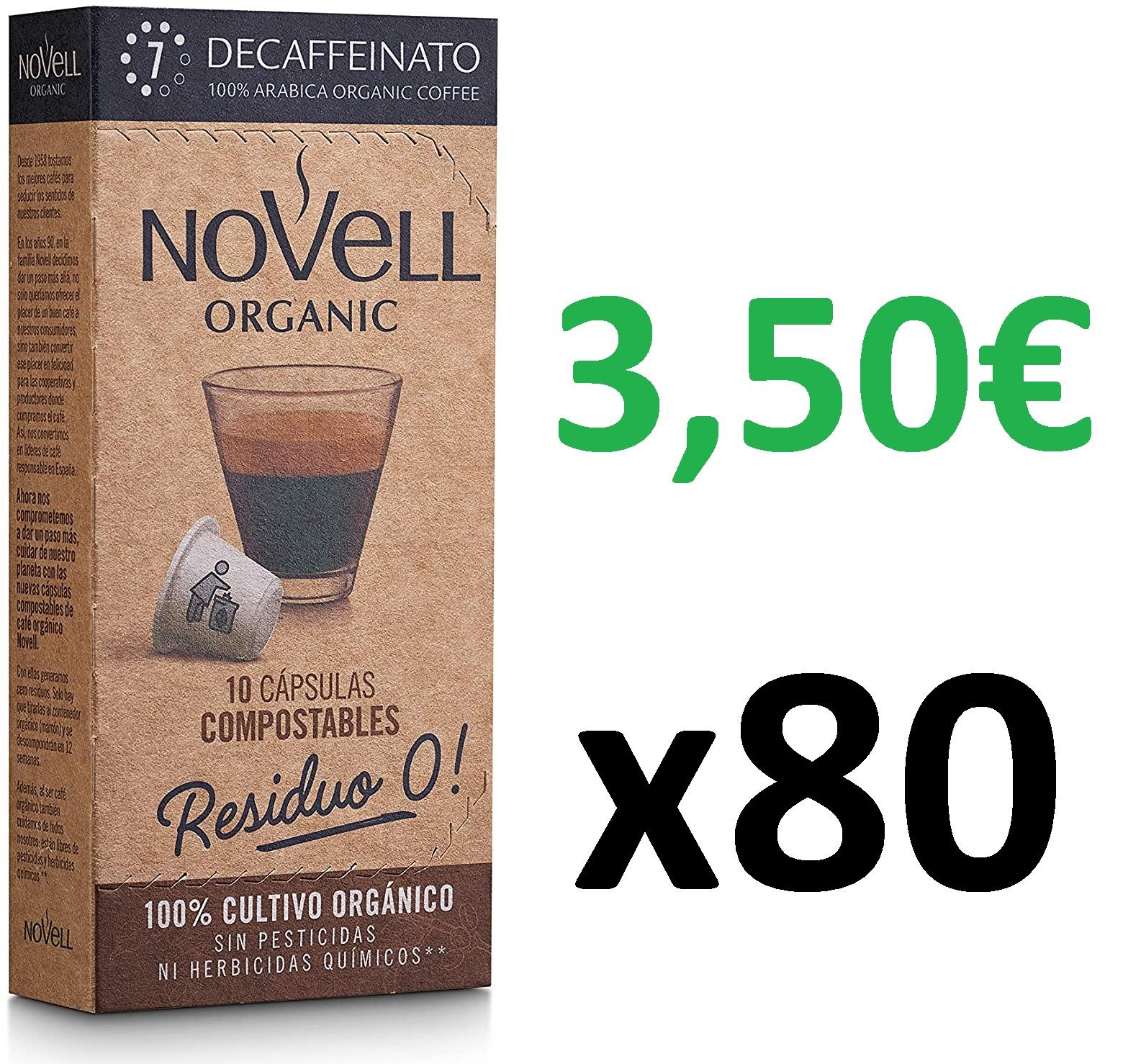 Cápsulas Compostables con café Ecológico - Decaffeinato - 8x10 = 80 Cápsulas