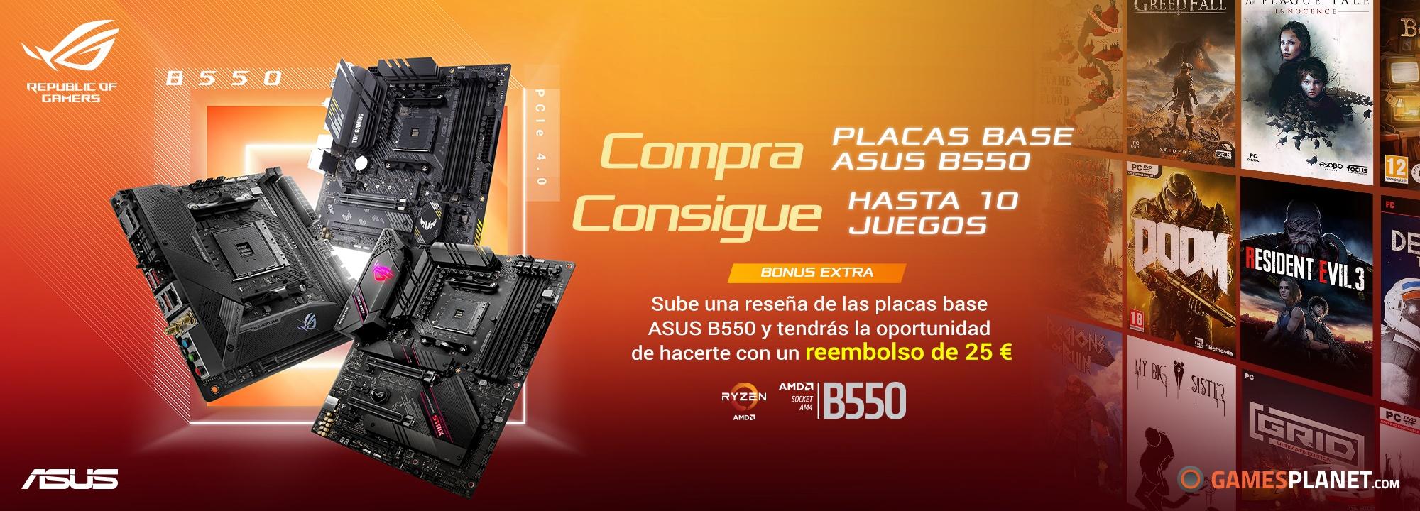 Compra una placa base ASUS B550 y consigue hasta 10 juegos gratis (BONUS: +25€ reembolso)