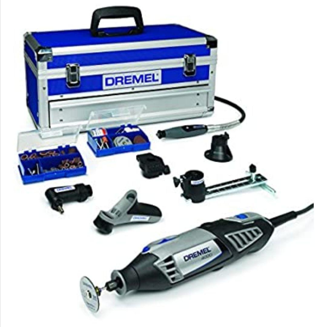 Dremel Platinum Edition 4000 - Multiherramienta, 175 W, kit con 6 complementos, 128 accesorios, velocidad 5.000 - 35.000 rpm para tallar..
