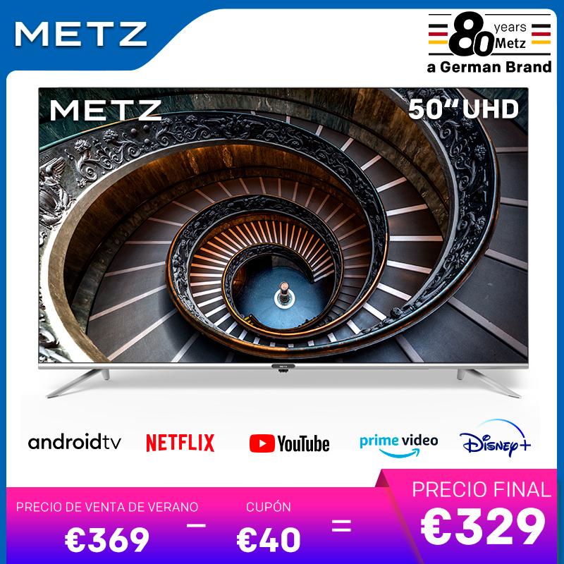 TV de 50 pulgadas SMART TV METZ 50MUB7000 ANDROID TV 9,0 UHD sin marco Google asistente CONTROL remoto por Voz - Desde España