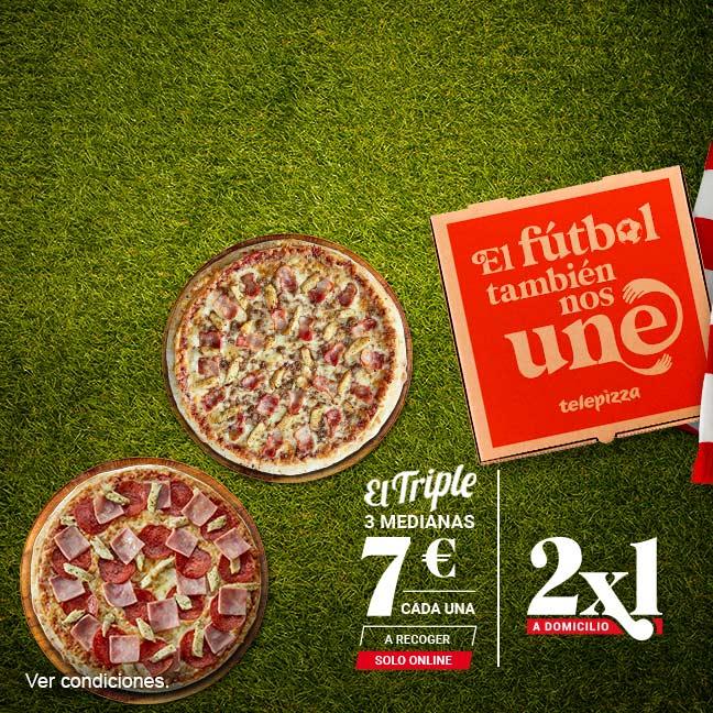3 pizzas medianas por 7 euros CADA UNA