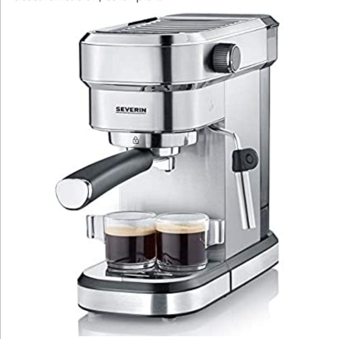 Severin KA 5994 Espresa - Cafetera espresso, 1350 W, 1.1 L, acero inoxidable cepillado, función descalcificación