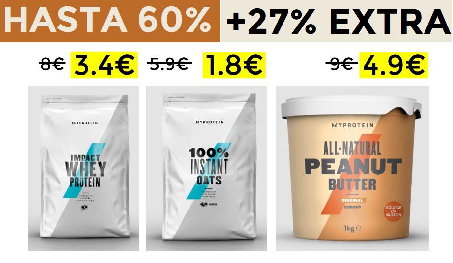 Hasta 60% + 27% EXTRA en Myprotein (incluido Outlet)