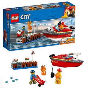 LEGO City Fire - Llamas en el Muelle, juguete creativo de aventuras de bomberos para construir, incluye barco y 2 minifiguras