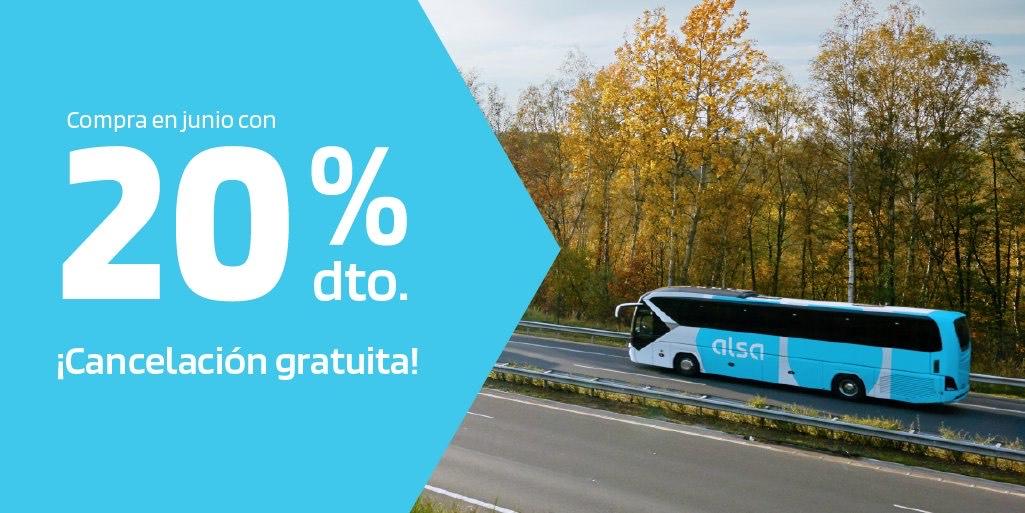 20% de descuento en todos los billetes Alsa