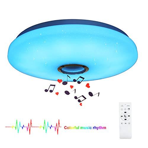 HOREVO 24W Plafón Bluetooth Ø38cm Lámpara de techo led con mando a distancia y altavoz Bluetooth