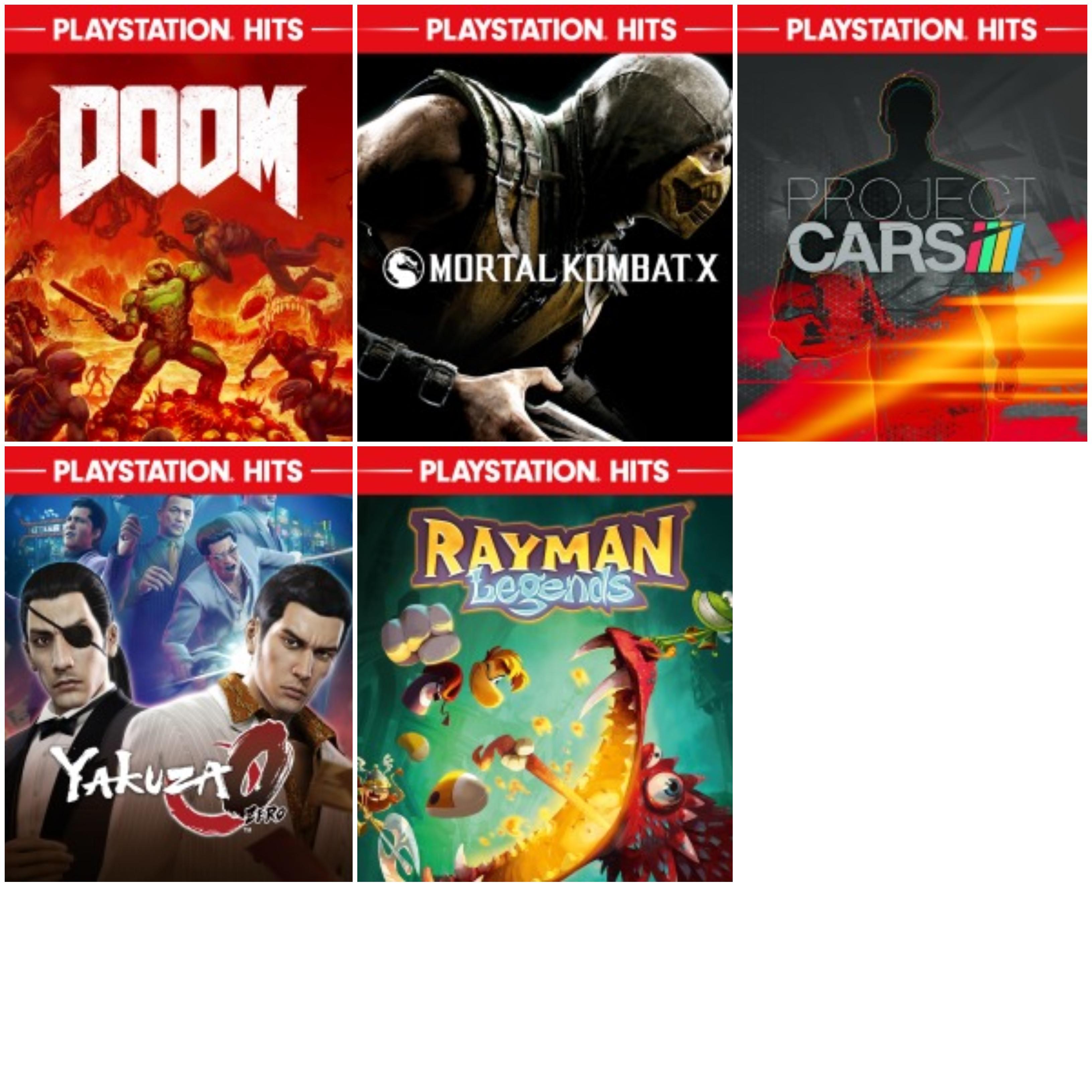 PS4 :: 5 juegos 50-75%, DOOM, Yakuza Zero, Rayman Legends, Mortal Kombat X y Project CARS