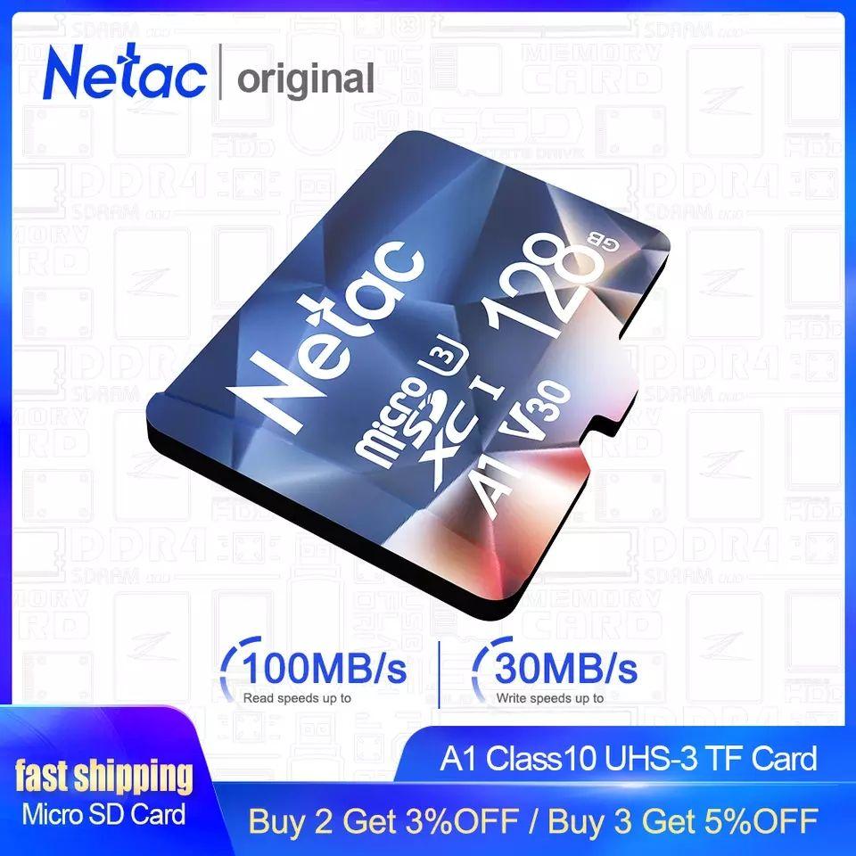 Netac tarjeta de memoria sd micro 128GB lectura hasta 100 MB/a y escritura hasta 30 MB/s