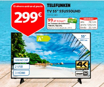 "SMART TV TELEFUNKEN 55"" 4K, WIFI, BLUETOOTH, TDT T2, USB reproductor y grabador, 3HDMI, 1200HZ."