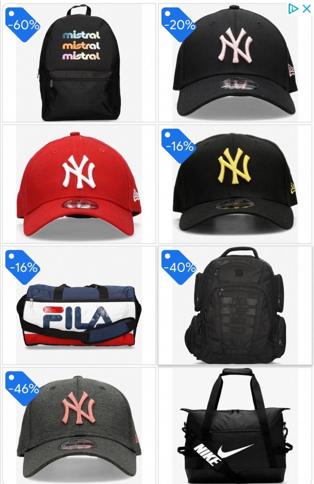 Variado de mochilas y gorras