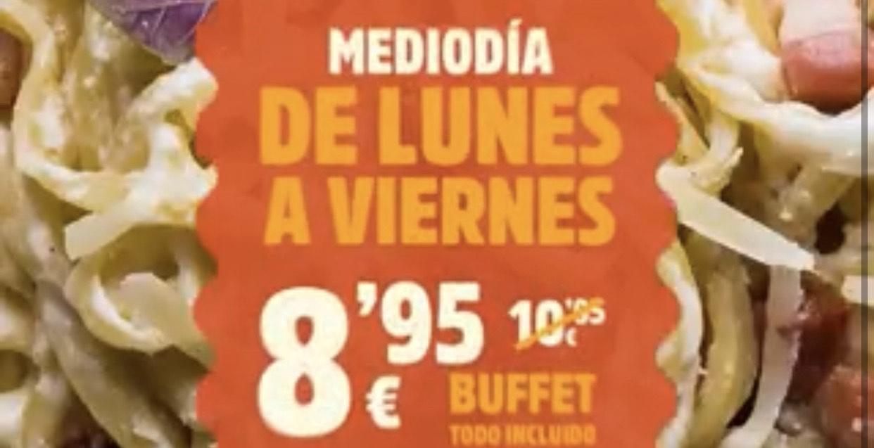 """2€ de descuento en buffet """"MUERDE LA PASTA"""""""