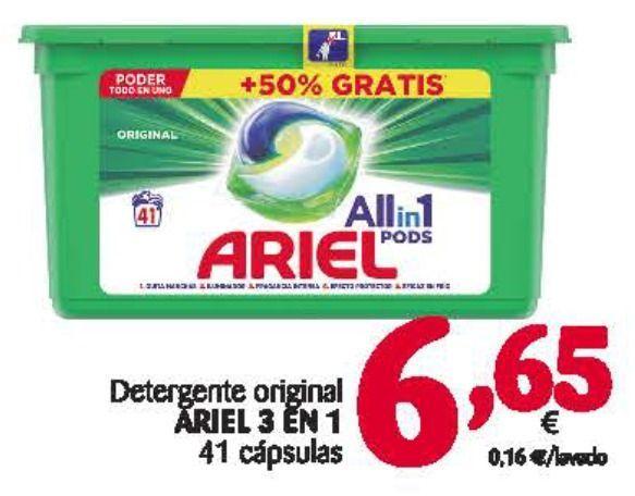 Ariel Pods 41 cápsulas a 6.65€ (0.16€/cápsula) en Alimerka