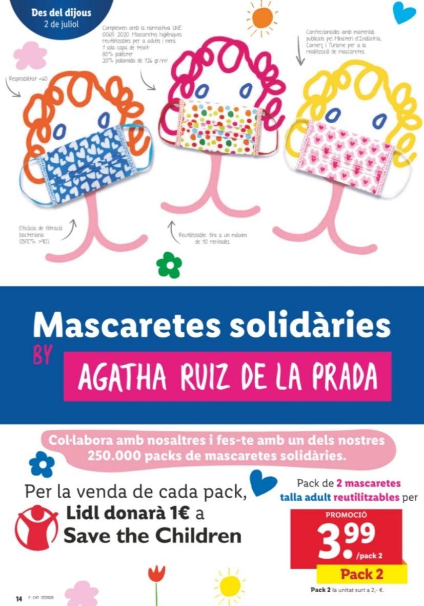 Mascarillas solidarias Agatha Ruiz de la Prada en Lidl (3,99€ pack 2ud)