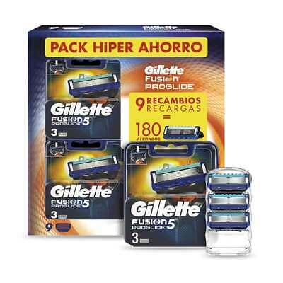 1/3 Gillette Fusion 5 ProGlide 9 uds Recambios Maquinilla de Afeitar - 180 afeitados
