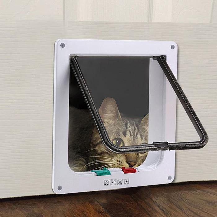Puerta de perro con cerradura, puerta de gato con apertura de seguridad.