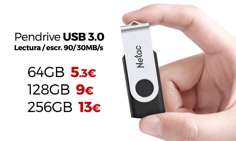Pendrive USB 3.0 lectura 90MB/s - escritura 30MB/s [64GB 5.29€] [128GB 9€] [256GB 13€]