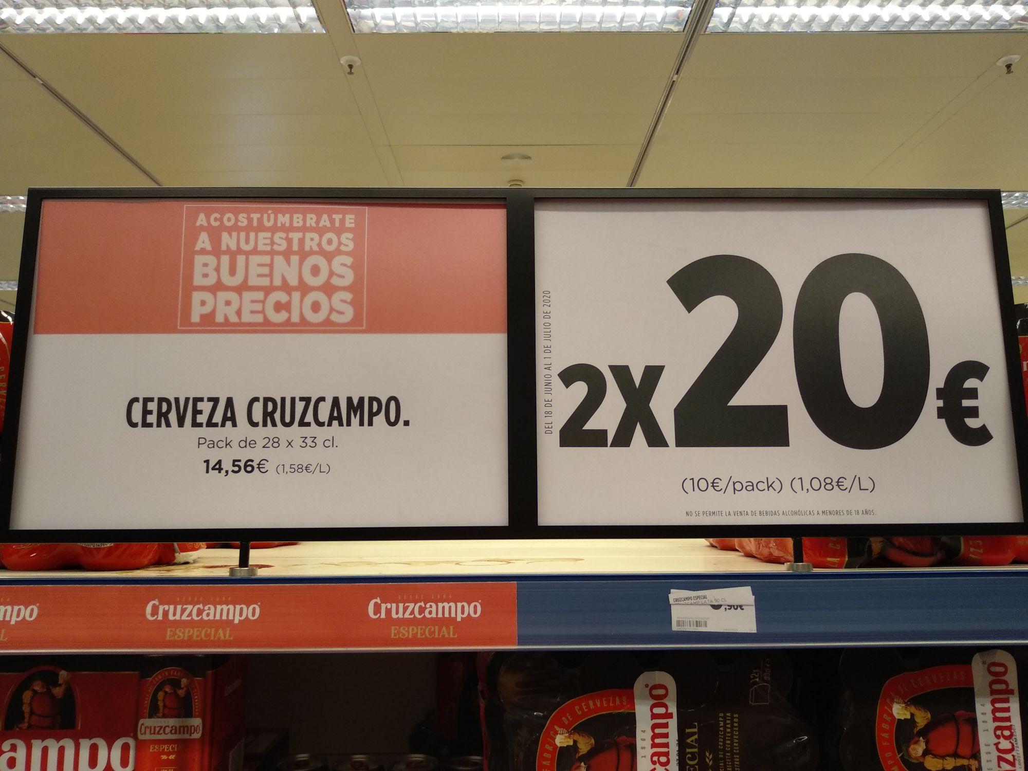 56 latas de Cruzcampo 33cl a 20€