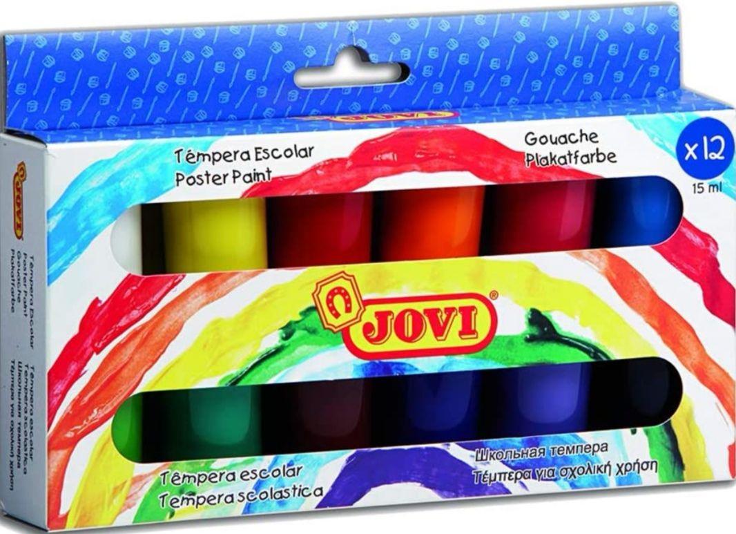 Jovi - Estuche témperas 12 botes de 15 ml, colores surtidos