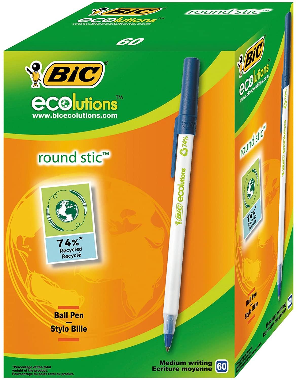 BIC Round Stic - Paquete de 60 bolígrafos reciclado, color azul