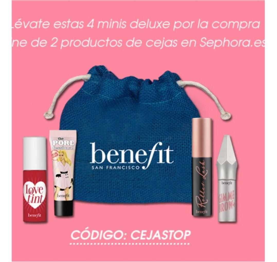 4 mini tallas Benefit gratis por la compra de 2 productos de cejas en Sephora.es
