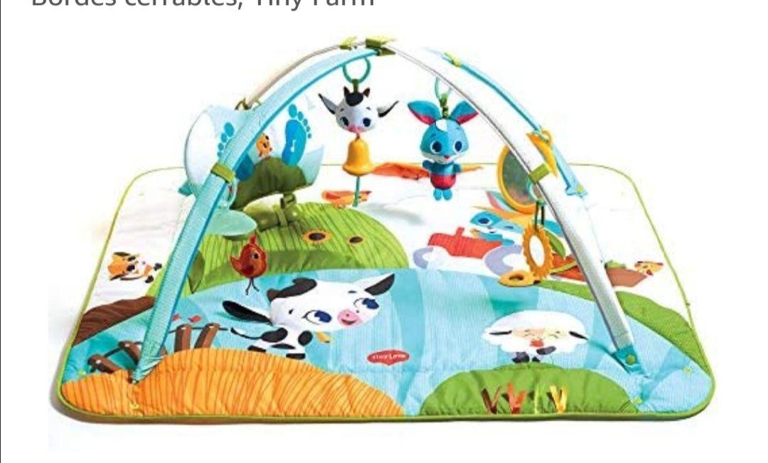 Tiny Love Animalitos de la Granja Gimnasio musical para bebés, Manta Juegos con 18 actividades y Almohadilla Kick & Play con luces y sonido