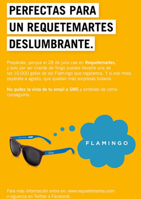 10000 gafas de sol Flamingo de regalo con el requetemartes