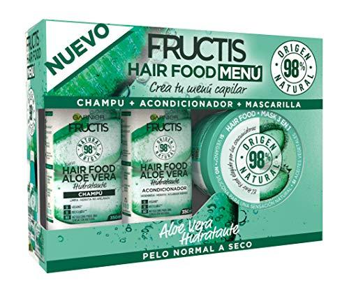 Garnier Fructis Hair Food Menú Aloe Vera Pack Champú + Acondicionador + Mascarilla para Pelo Normal