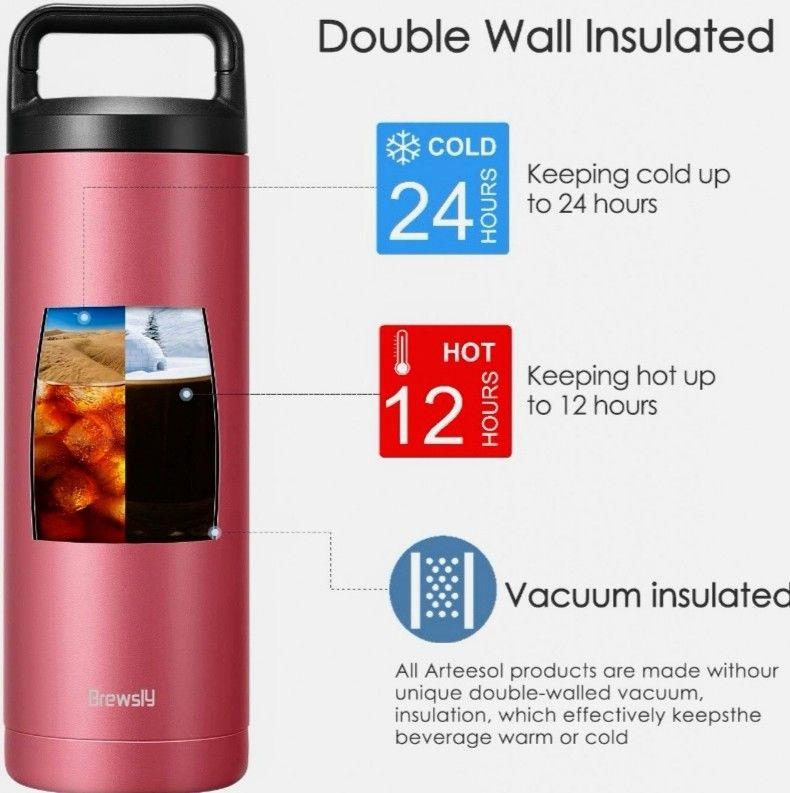 Botella térmica Acero Inoxidable,Doble Pared, con Doble Aislamiento, Libre BPA (1 LITRO)