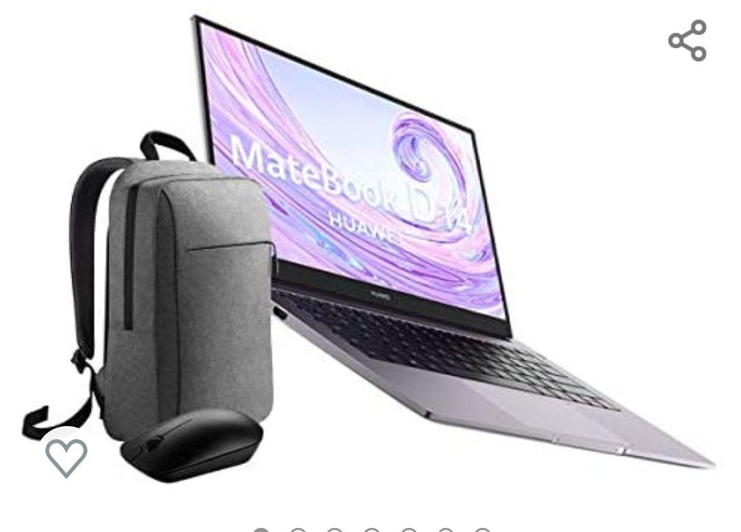 "Huawei Matebook D 14 - Ordenador Portátil de 14"" FullHD (AMD Ryzen 5 3500u, 8GB RAM, 256GB SSD,Sensor de Huella, W10H) + Mochila y ratón"