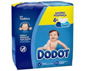 Toallitas húmedas para bebé, sin alcohol y con acción hidratante DODOT 4 x 64 uds