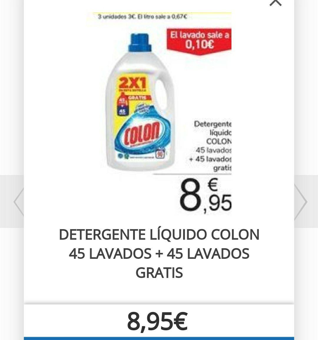 DETERGENTE LÍQUIDO COLON 90 LAVADOS. 0,10 LAVADO.