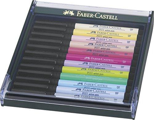 Faber-Castell Pitt - Estuche de 12 rotuladores, punta pincel, colores pastel