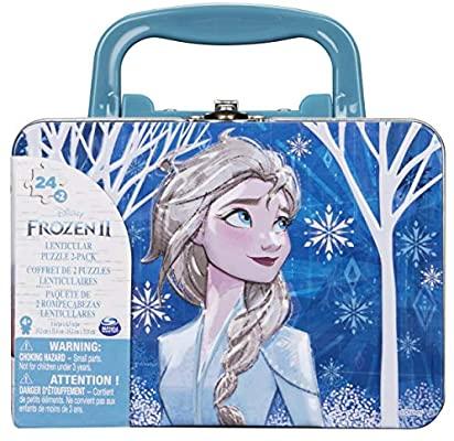 2 puzzles Frozen II con maleta de 24 piezas, pequeños