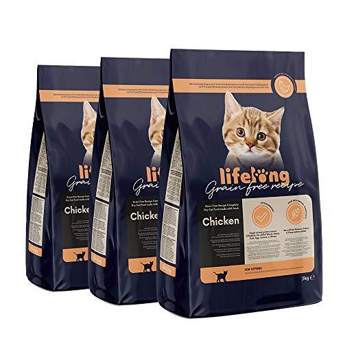 9 Kg Alimento seco para gatos con pollo fresco, receta sin cereales - ( 3kg x 3 envases)