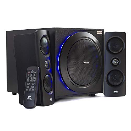 Woxter SO26-057 Big Bass 500 R - Altavoces 2.1 (150W, Bluetooth, Leds, Subwoofer de Madera)