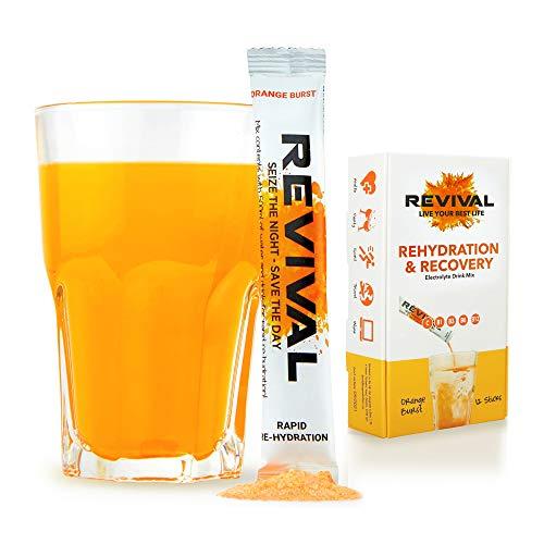 Revival, Rehidratación Rápida: Polvo de electrolitos - Potente Suplemento Naranja y Cereza 12 Paquete.