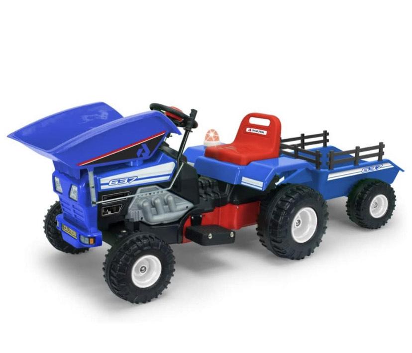 Tractor de juguete con volquete para niños a batería 12v