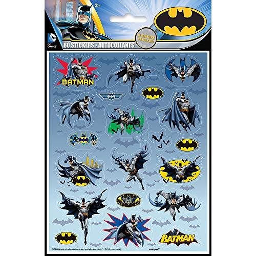80 Unique Party - Hojas de Pegatinas - Diseño de Batman -