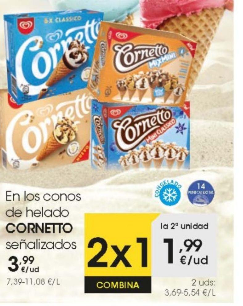 Oferta en eroski de cornetto y cornetto mini, compras 2 y pagas 1