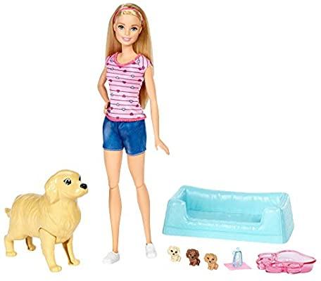 Barbie y sus perritos sorpresa, muñeca con accesorios,
