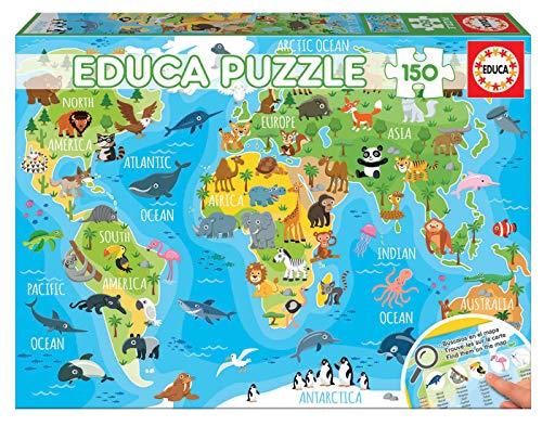 Educa- Mapamundi Animales Puzzle Infantil de 150 Piezas,