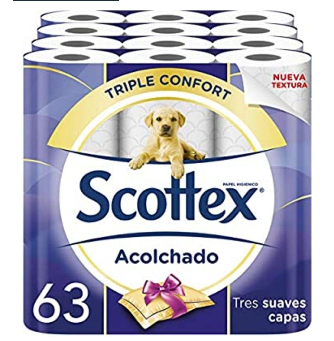 Scottex Acolchado Papel Higiénico - 63 rollos ( al tramitar y compra recurrente) y si tienes cupón del 10 o 15%