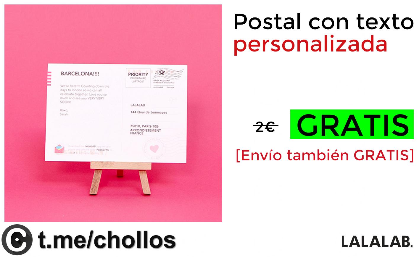 1 postal personalizada totalmente GRATIS
